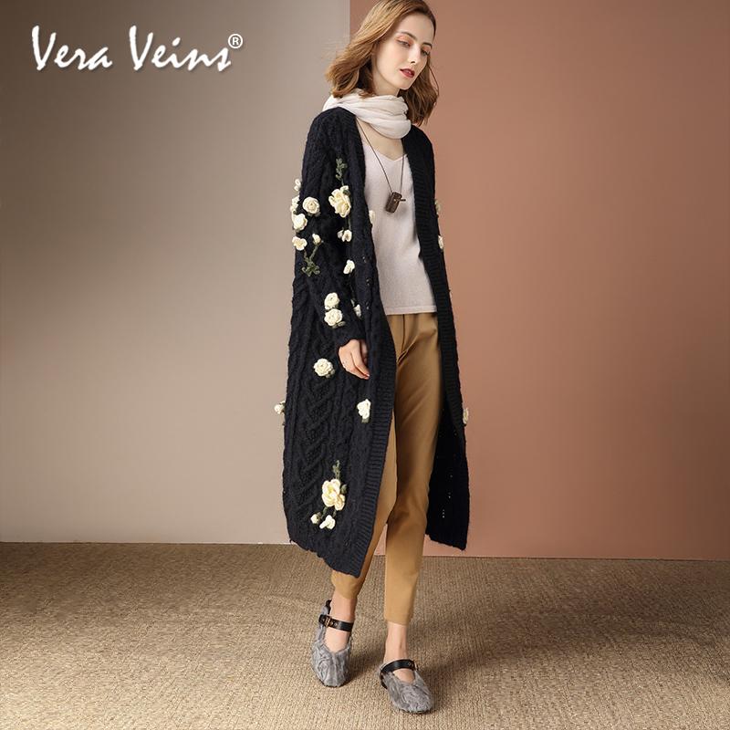 2018秋冬季新款黑色马海毛针织开衫毛线大衣中长款厚羊毛毛衣外套