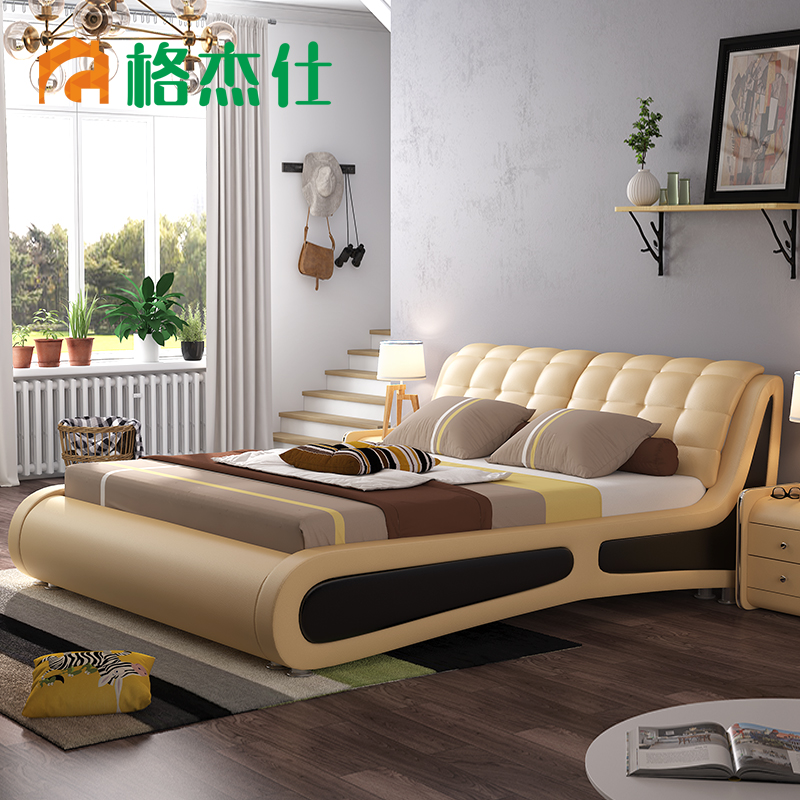 geshi leather bed 18 m double bed modern minimalist bed bed bed tatami