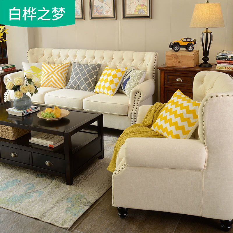 美式布艺沙发拉扣1+2+3组合可拆洗贵妃田园风格乳胶家具简美沙发