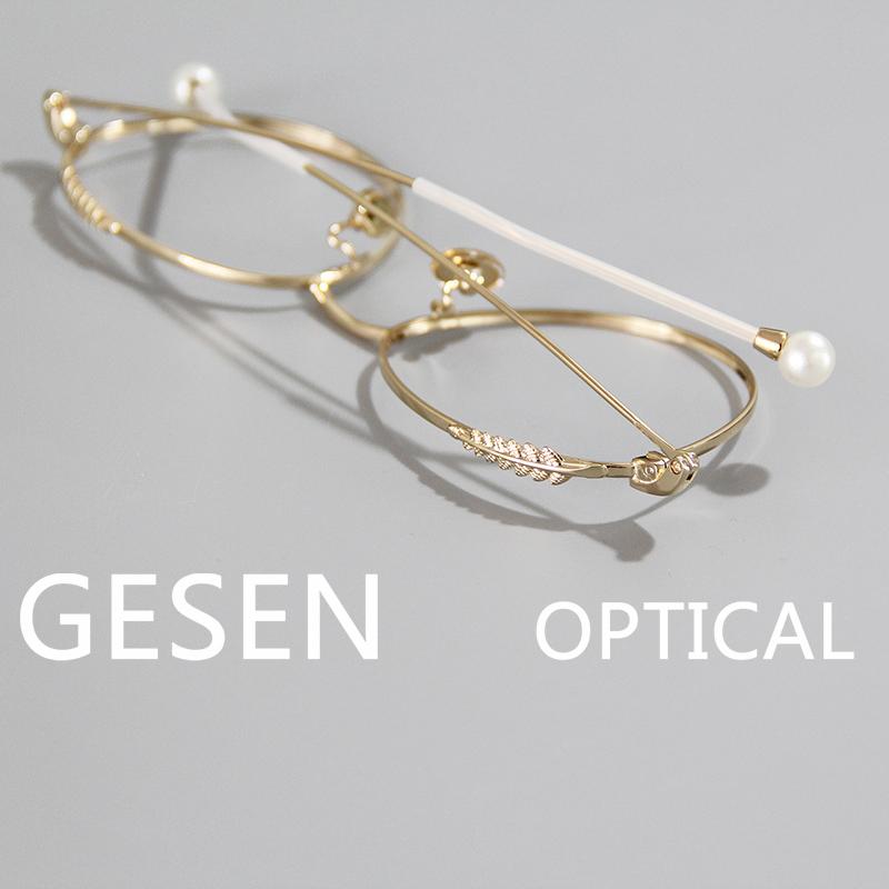 超轻防蓝光眼镜框架女近视复古珍珠装饰韩版潮 金属平光大框眼镜