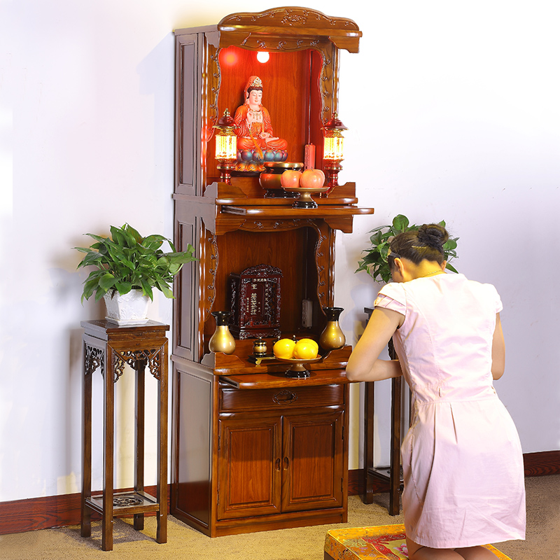 现代简约佛台佛龛立柜供台家用财神爷供奉桌佛柜神台供桌实木神龛