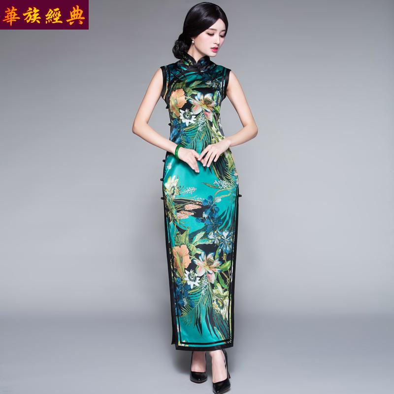 华族经典真丝旗袍长款优雅修身复古名媛老上海旗袍女夏中式连衣裙