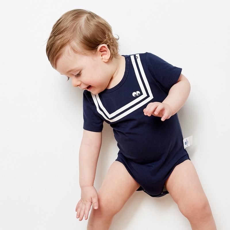 迷你巴拉巴拉婴儿夏季连体衣水手短袖夏装宝宝三角衣男童女童哈衣