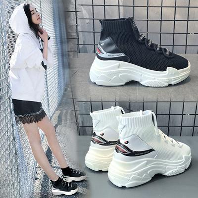 高帮袜子鞋女鞋韩版ulzzang原宿2018新款网红袜靴街拍鞋子运动鞋