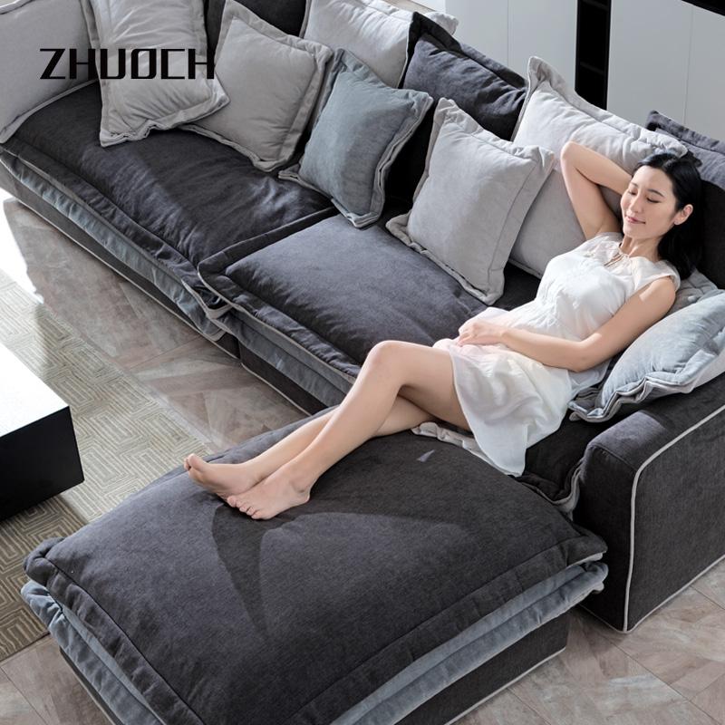 拙诚 简约现代布艺沙发三人位 北欧轻奢转角沙发客厅家具定制