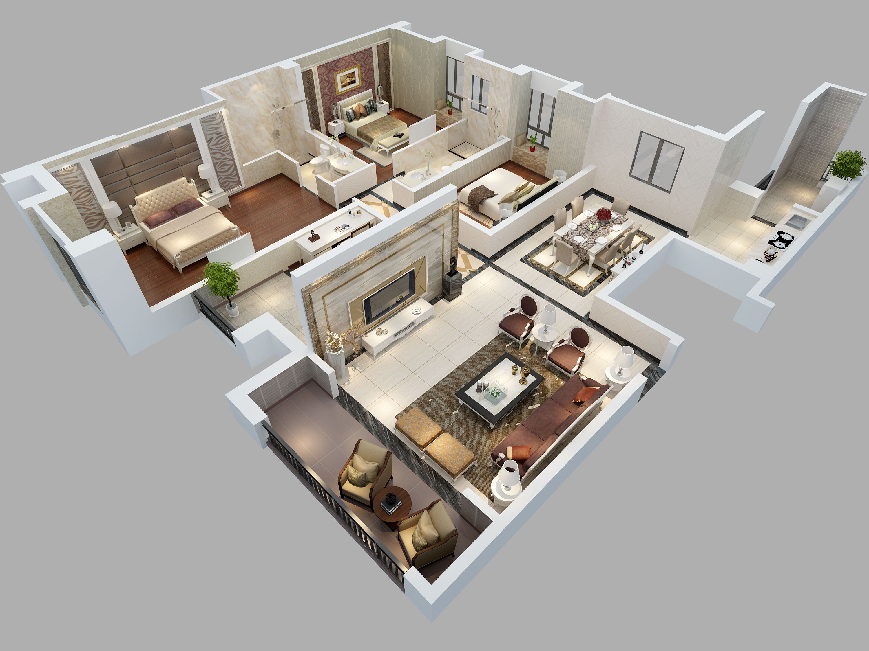 房地产代做3d鸟瞰图psd室内设计彩平图鸟瞰户型图3d立体效果图