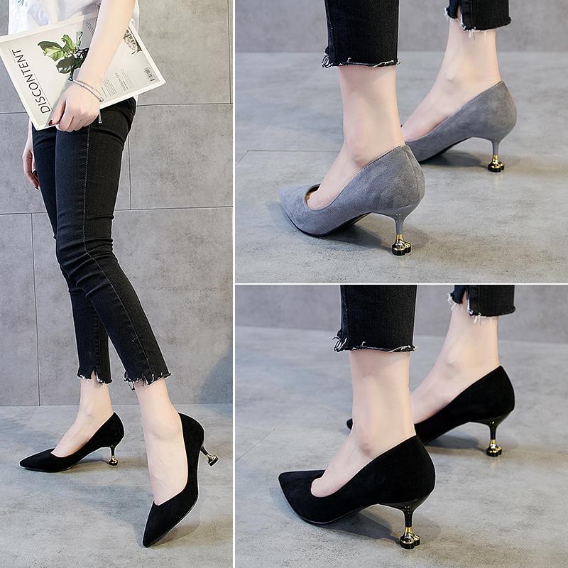 鞋子女2018新款黑色高跟鞋百搭猫跟鞋细跟春季尖头5cm中跟工作鞋