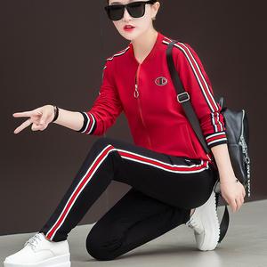 休闲运动服套装女2018秋装新款大码女装胖mm秋季跑步三件套减龄潮
