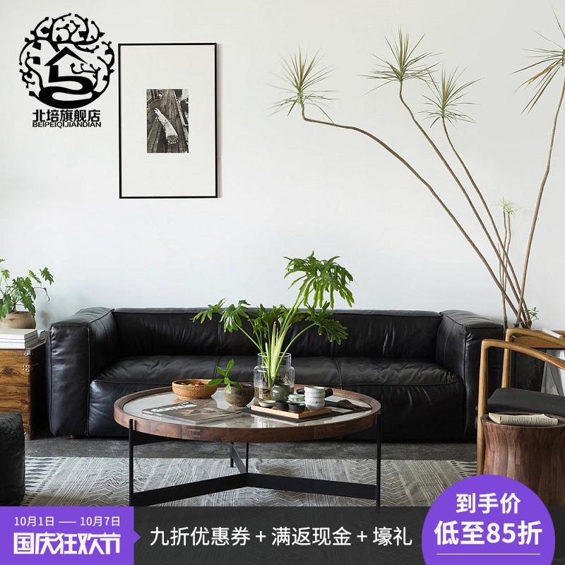 设计师大理石茶几客厅咖啡桌金属圆几创意黑胡桃木实木北欧圆几