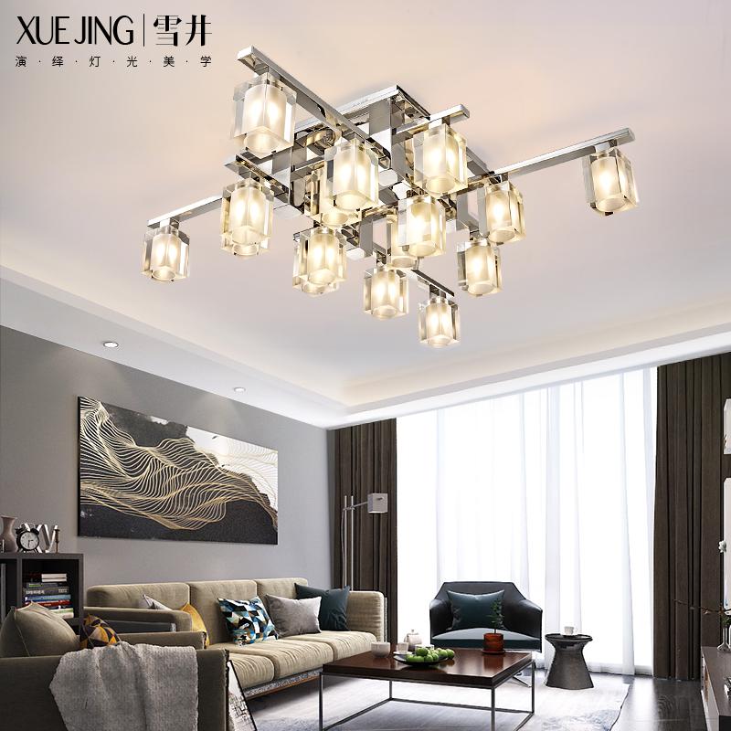 雪井客厅灯创意个性卧室灯后现代简约大气家用led灯具水晶吸顶灯