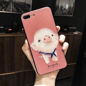 萌猪苹果iphone8plus手机壳7plus女款全包防摔6s新款8x卡通可爱6软边iphonex浮雕磨砂六七八p挂绳8个性xs max