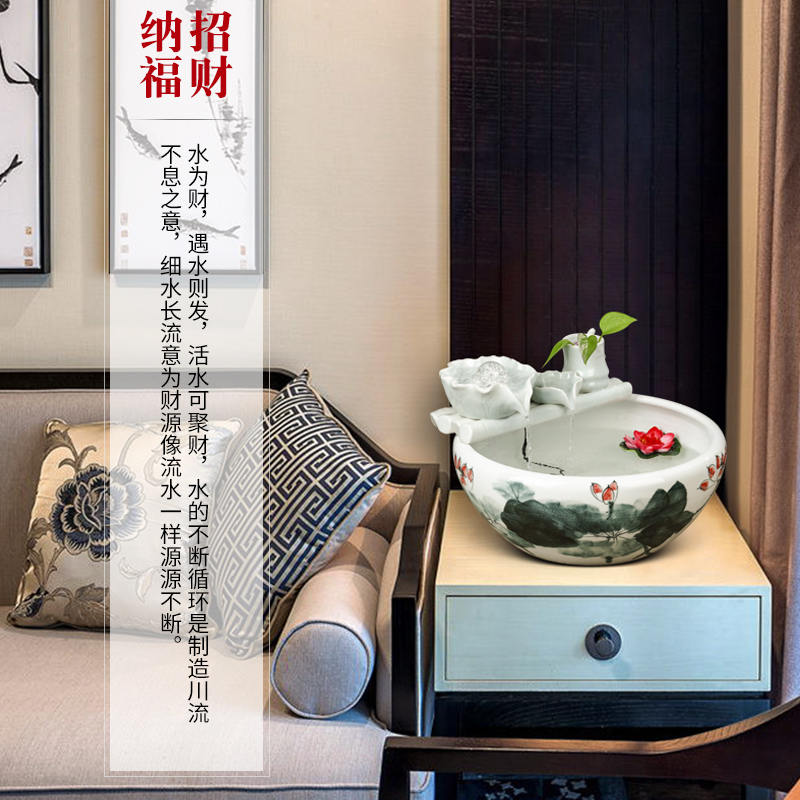 Jingdezhen ceramics modern Chinese style living room office fish basin creative furnishing articles home decoration aquarium water