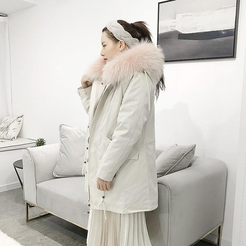 曼森华菲派克服女皮草内胆水貂青根貂带帽中长款大衣女冬季可拆卸