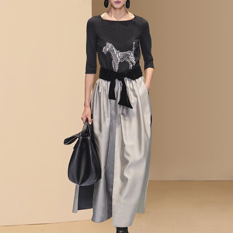 2018秋装新款女装欧洲站时尚减龄上衣半身裙时髦套装气质两件套潮