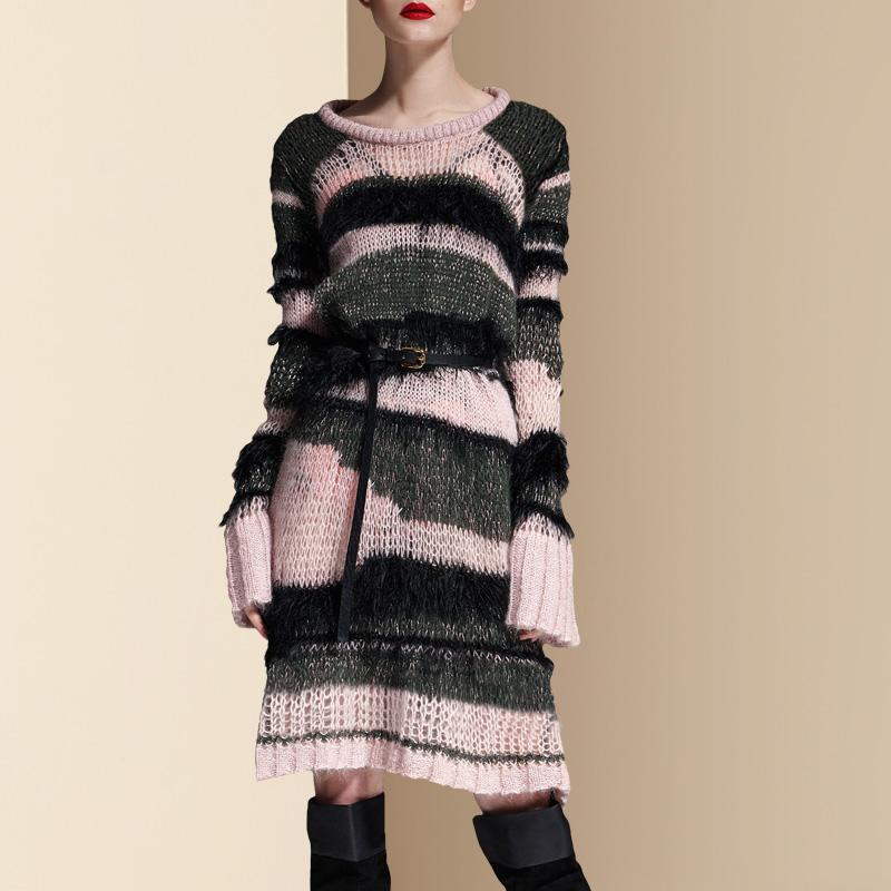 2018秋装新款女修身显瘦薄款镂空条纹长袖针织连衣裙中长款A字裙