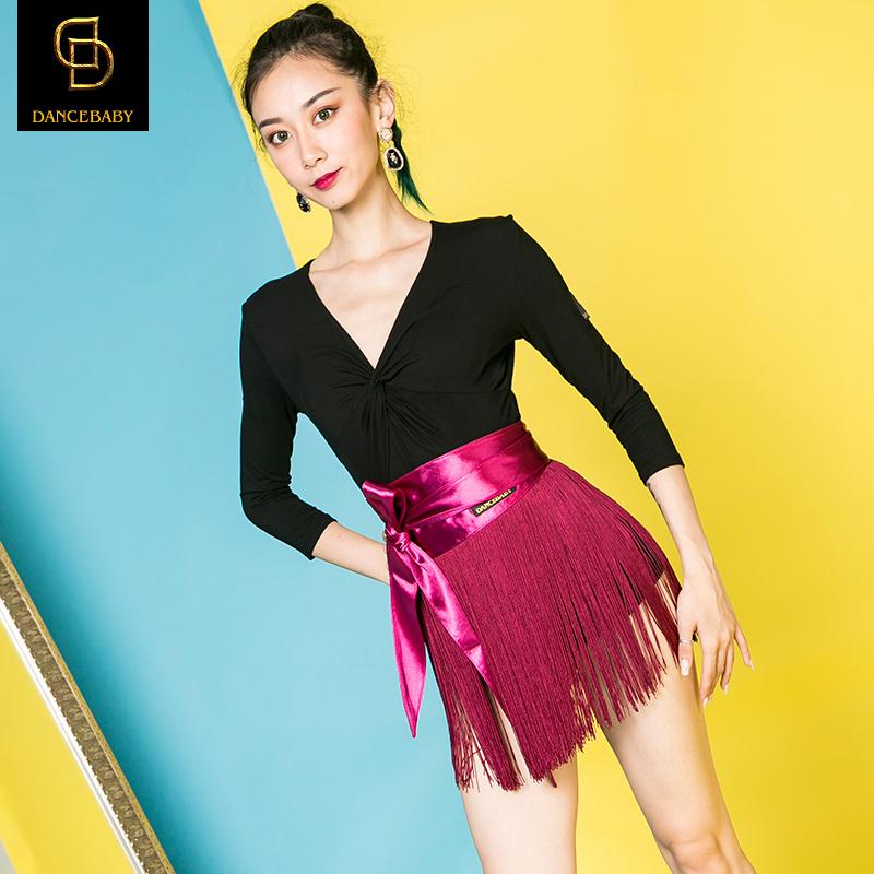 dancebaby拉丁舞裙女成人半身裙跳舞裙短裙流苏系带舞蹈裙DAS39