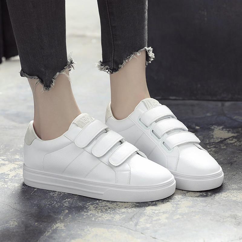 魔术贴小白鞋女2018春季新款平底韩版百搭一脚蹬白色懒人板鞋女鞋
