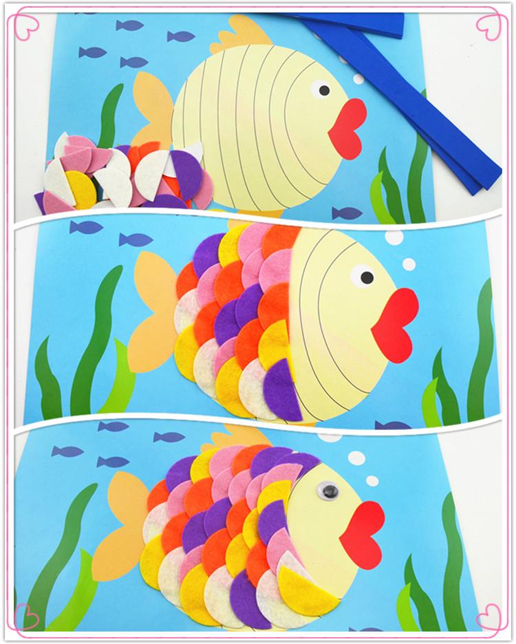 幼儿园礼物益智美术早教创意手工材料小鱼不织布贴画diy