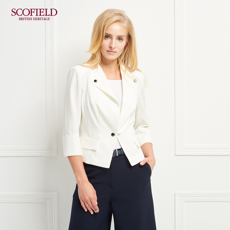SCOFIELD女装职场通勤风修身一粒扣翻领短西装外套 SFJK72301S