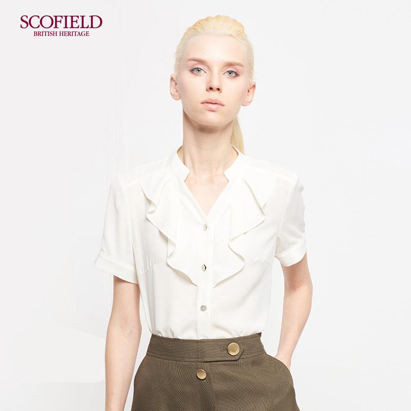 SCOFIELD女装 夏季V领木耳边领巾气质短袖直筒淑女衬衫SFBA73701S