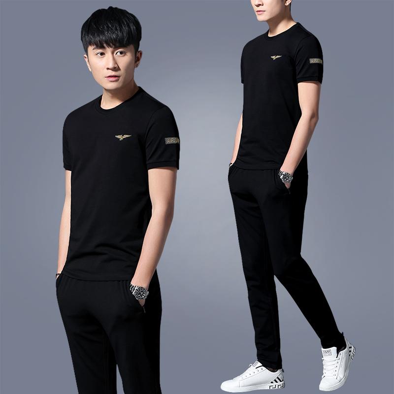 新款运动套装男休闲薄款夏季短袖运动衣运动服套装男士夏装两件套