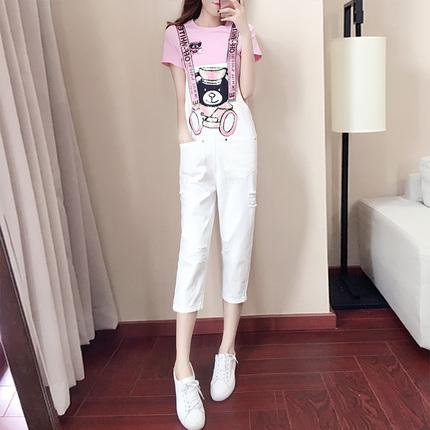 2017夏装新款女装潮韩版夏季牛仔背带裤阔腿裤两件套时尚名媛套装