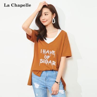 两件套t恤女短袖拉夏贝尔2018夏装新款韩版bf宽松上衣小衫学院风
