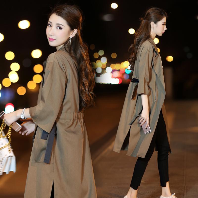 2018新款秋装外套韩版大码收腰系带中长款显瘦七分袖过膝风衣女