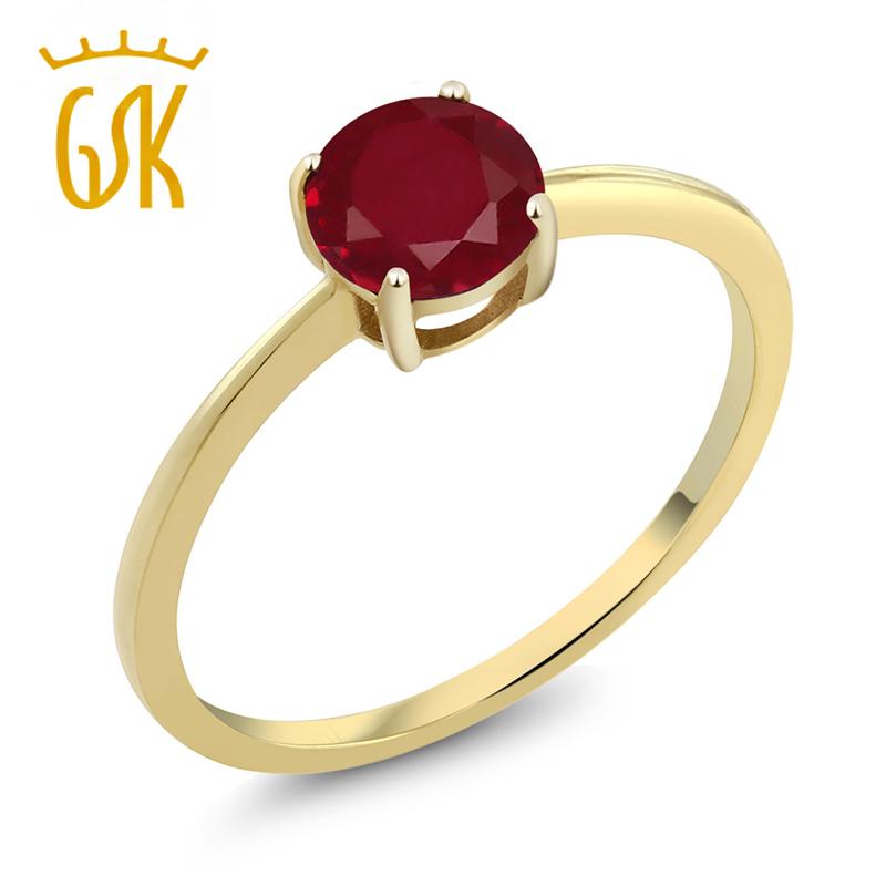 GSK 1克拉斯里兰卡红宝石戒指 10K金彩色宝石女戒 经典简约订情