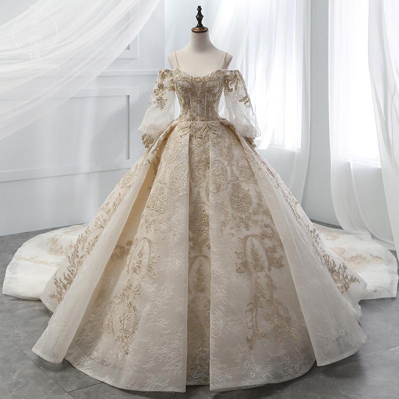 婚纱2018新款泡泡袖一字肩吊带中袖复古宫廷香槟金高档婚纱定制