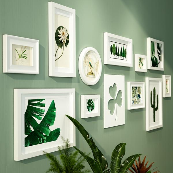欧锋欧式田园实木照片墙挂墙相框绿色清新装饰画组合客厅卧室装饰