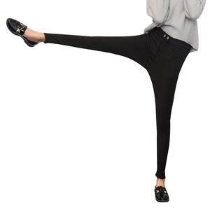 秋季加绒打底裤女外穿黑色魔术裤2018新款高腰九分小脚铅笔保暖裤