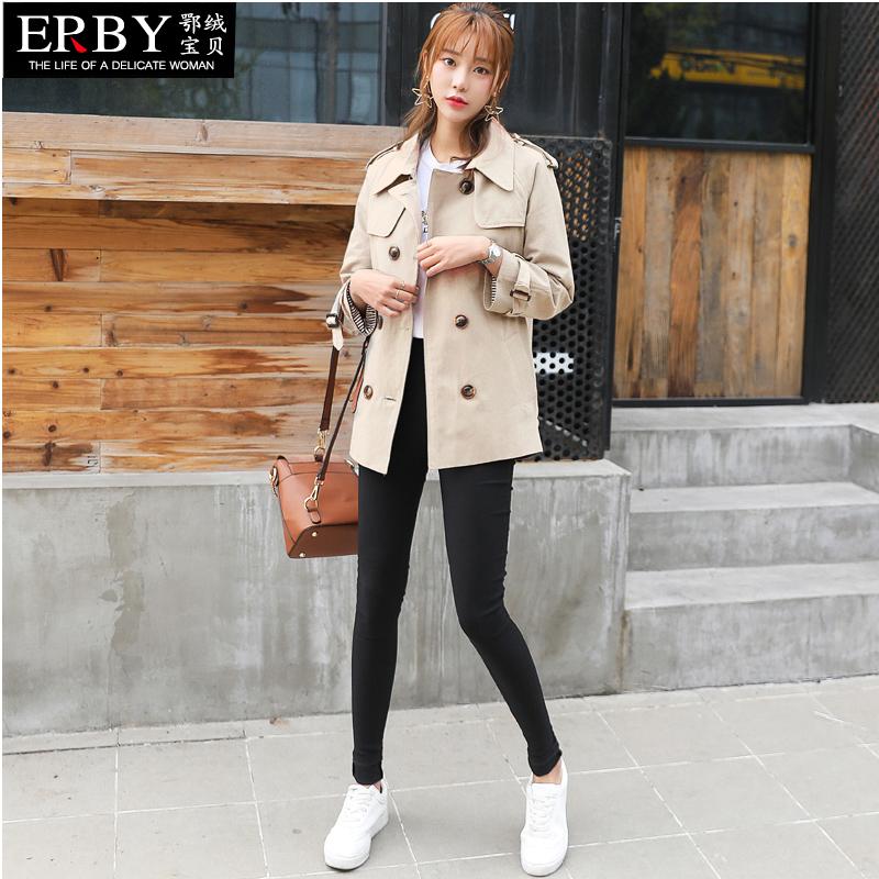卡其色风衣女短款2018春季新款韩版时尚中长款小个子女装春秋外套