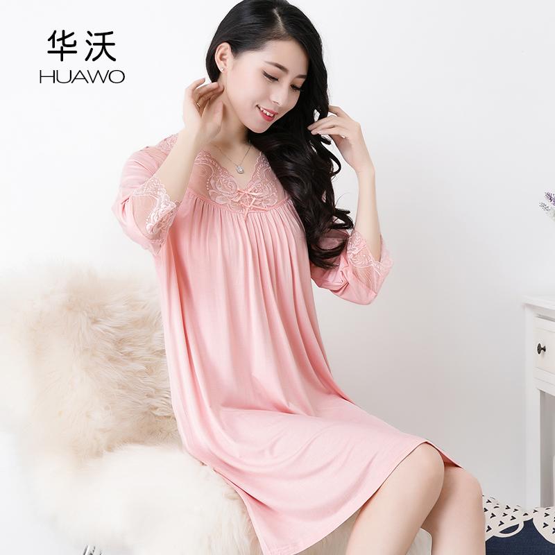 2018品牌睡衣竹纤维睡裙女夏天中袖七分袖短裙宽松大码连衣裙薄款