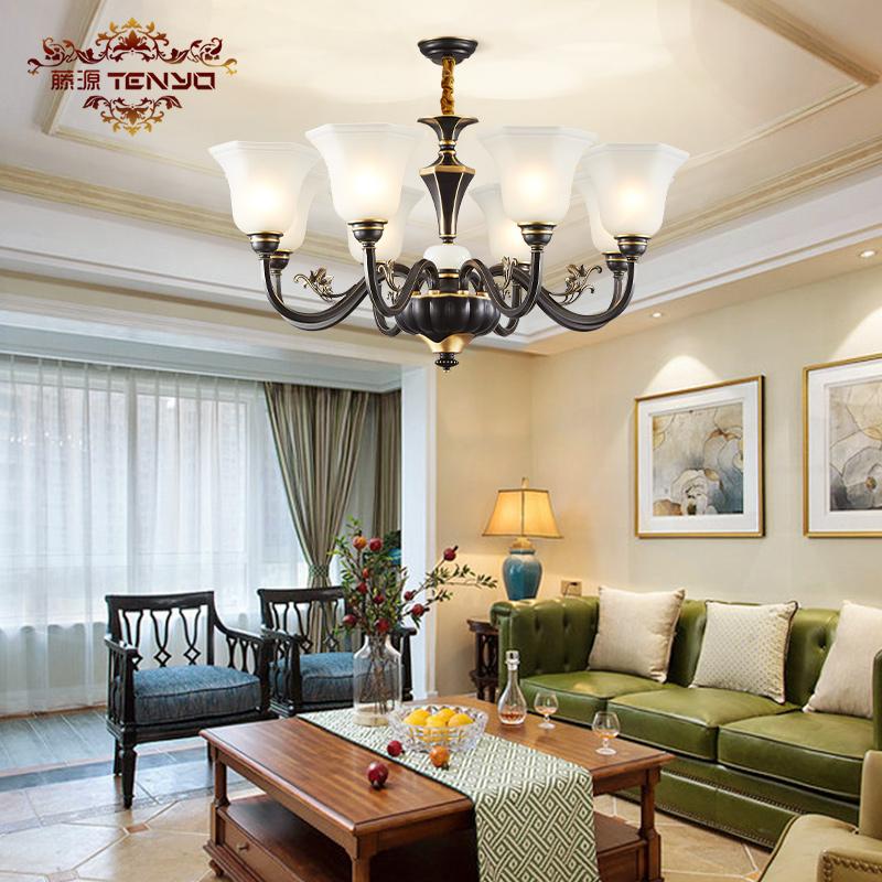 美式全铜吊灯客厅灯复古简美卧室灯黑色小美风格灯具玉石欧式铜灯