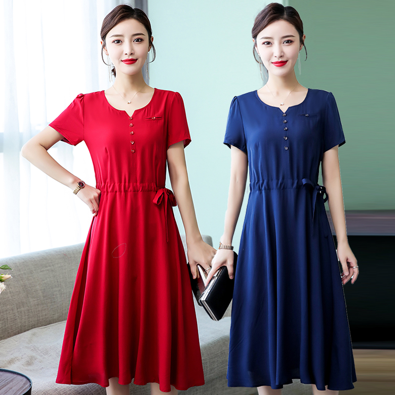 Middle-aged women's cotton silk dress wide wife summer dress over the knees in the long paragraph large size mother slim skirt
