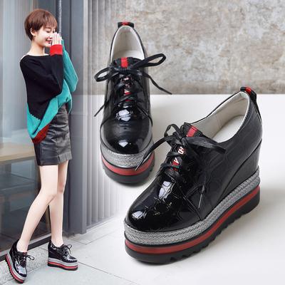 2018春季新款坡跟单鞋女防水台松糕鞋女厚底鞋子韩版休闲高跟女鞋