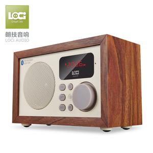 loci D50木质无线蓝牙音箱重低音炮手机迷你插卡小音响复古收音机