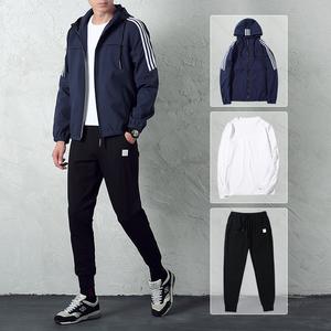 花花公子贵宾秋季夹克男外套三件套休闲运动青年上衣长裤T恤一套