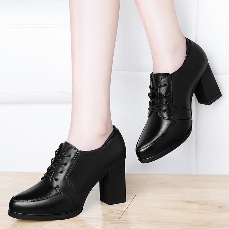 高跟鞋2018新款秋季粗跟皮鞋中跟单鞋韩版百搭黑色工作女鞋子秋鞋