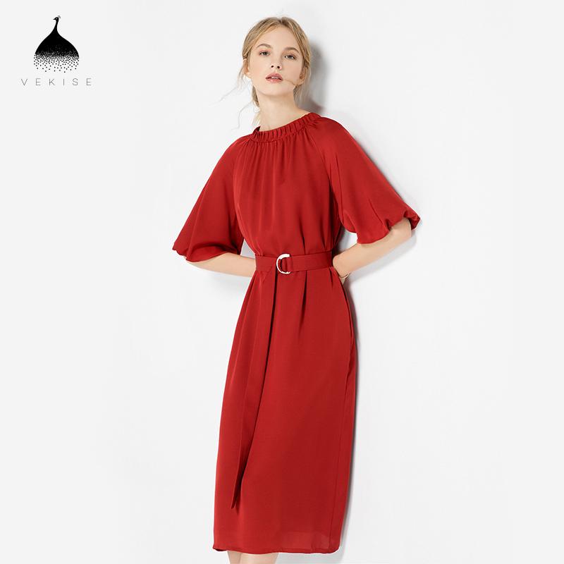 红色真丝连衣裙女夏2018新款纯色灯笼袖短袖长裙气质收腰中长裙子