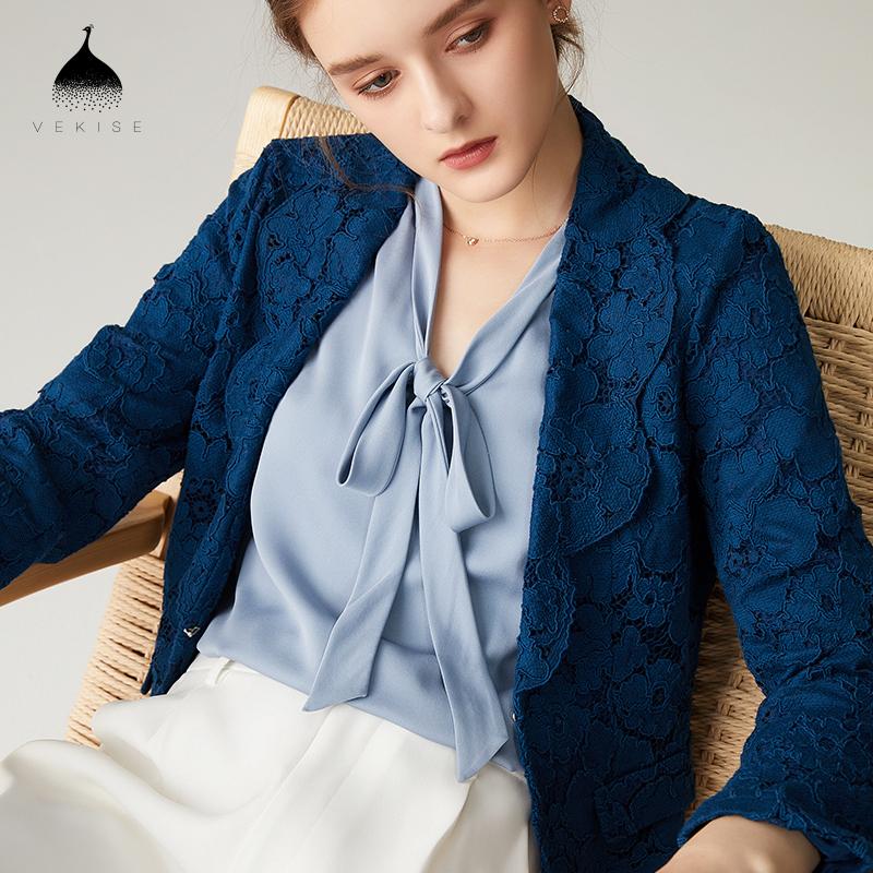 小西装女外套2018秋装新款蓝色蕾丝上衣气质修身显瘦长袖休闲西服