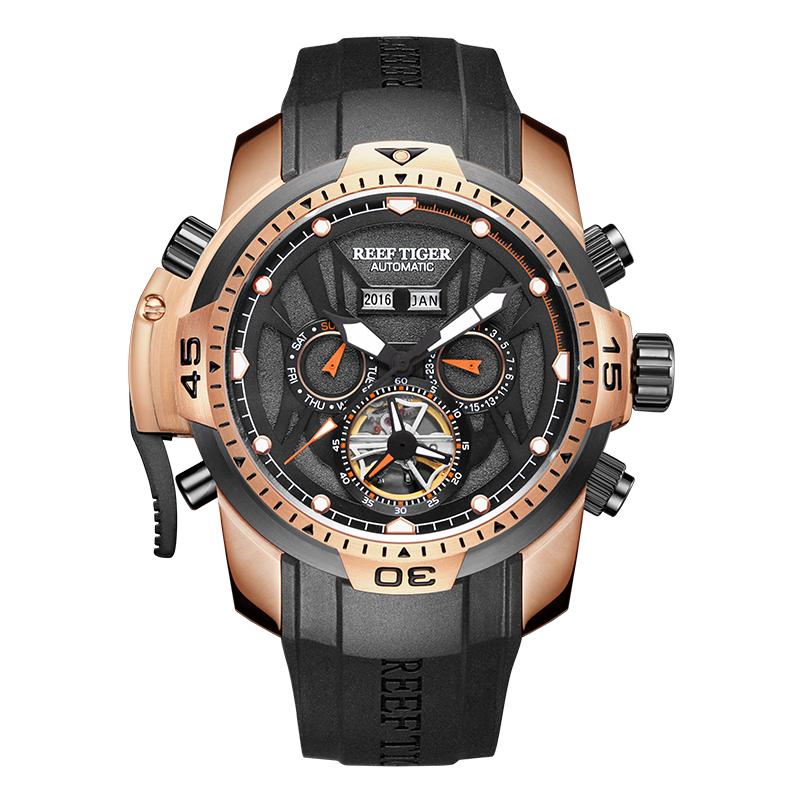 瑞夫泰格-RT男士机械表镂空潮流大表盘超强夜光创意手表防水男表