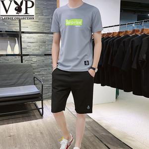 花花公子贵宾新款夏季短袖T恤套装男短裤中青年短裤一整运动套装