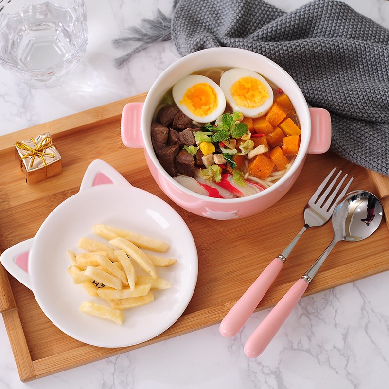 Lunch box Japanese ceramic bowl express express girl heart dormitory contracted Korean single mercifully rainbow such as bowl with cover