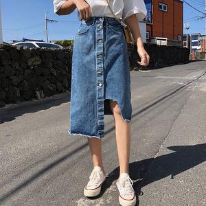 1501#实价有视频中长款牛仔半身裙女夏2019不规则高腰过...