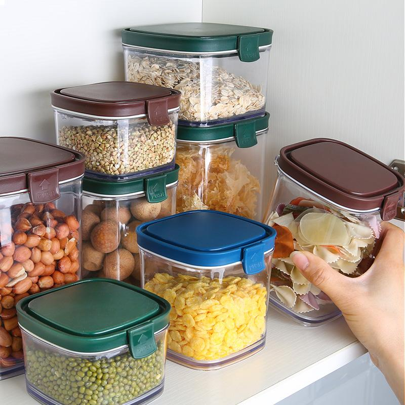 Seal pot kitchen grain storage tank plastic transparent the glass tea pot flavored snack boxes of milk powder as cans