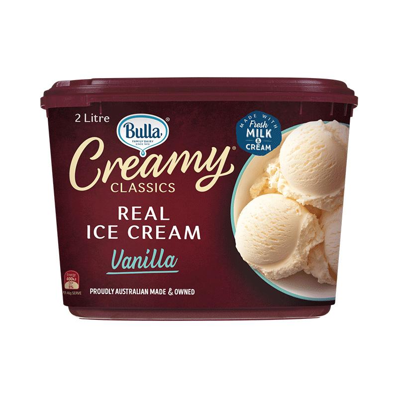 Bulla澳洲原装进口鲜奶冰淇淋桶装2L 巧克力香草大桶装冰激凌冷饮