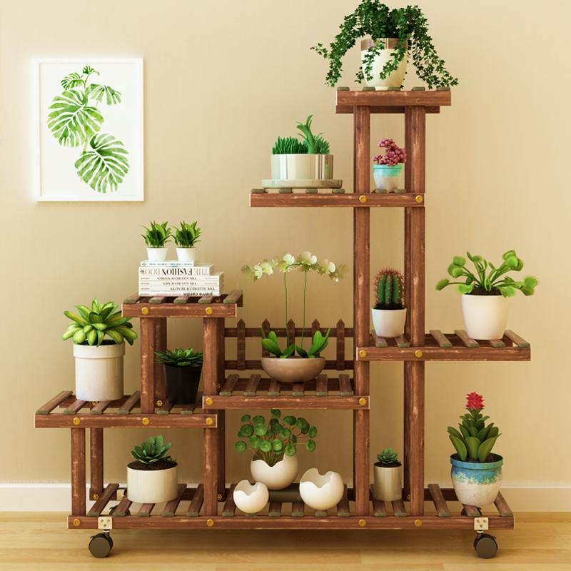 客厅实木花架子室内多层落地式阳台置物架多肉绿萝植物北欧花盆架