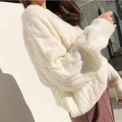 包芯纱毛衣女宽松慵懒风秋冬外穿韩版学生冬季百搭上衣针织打底衫